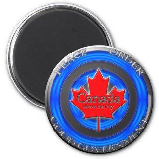 Le Canada au-dessus de l'effilochure Rondel Magnet Rond 8 Cm