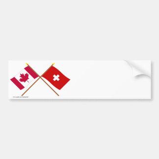 Le Canada et les drapeaux croisés par Suisse Autocollant De Voiture