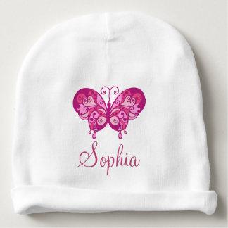 Le casquette du bébé rose nommé du papillon de la bonnet pour bébé