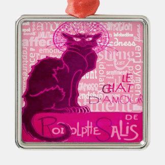 Le Chat D'Amour im Rosa mit Wörtern der Liebe Silbernes Ornament