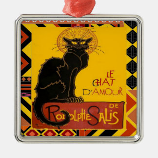 Le Chat D'Amour mit ethnischer farbiger Grenze Silbernes Ornament