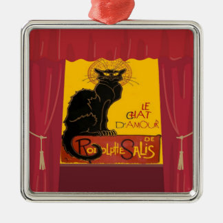 Le Chat D'Amour mit Theatervorhang-Grenze Silbernes Ornament