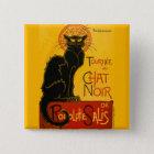 Le Chat Noir die schwarze Katzen-Kunst Nouveau Quadratischer Button 5,1 Cm