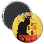 Le Chat Noir - nouvelle Année de Bonne Magnet Rond 8 Cm
