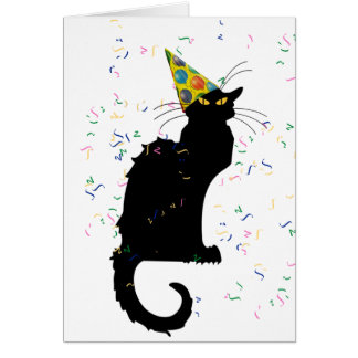 Le Chat Party Hut u. Confetti Karte