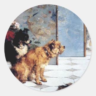 Le chat POURSUIT les amis espiègles peignant le Adhésifs Ronds