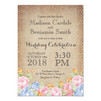 Le cru fleurit les invitations rustiques de carton d'invitation  11,43 cm x 15,87 cm