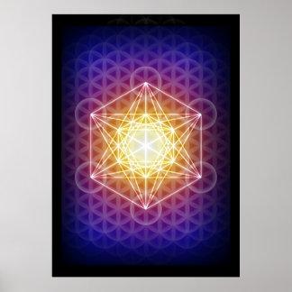 Le cube/fleur de Metatron de l'affiche de la vie Poster