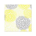 Le dahlia moderne gris jaune fleurit art de mur toile tendue sur châssis
