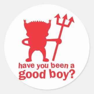 Le DIABLE ROUGE vous ont étés un bon garçon ? Sticker Rond