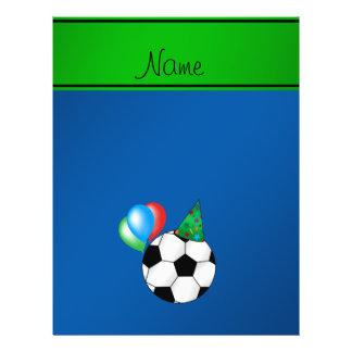 Le football bleu nommé personnalisé d'anniversaire prospectus avec motif