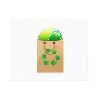 le globe dans le sac à provisions brun réutilisent impressions sur toile