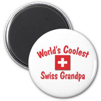Le grand-papa suisse le plus frais du monde magnet rond 8 cm