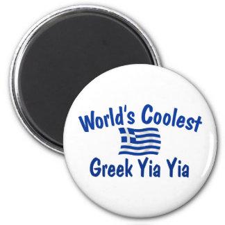 Le Grec le plus frais Yia Yia Magnet Rond 8 Cm