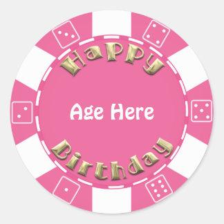 Le jeton de poker d'anniversaire ajoutent sticker rond