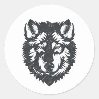 Le loup solitaire - illustration graphique sticker rond
