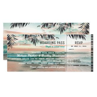 Le mariage de plage tropical de carte carton d'invitation  10,16 cm x 23,49 cm