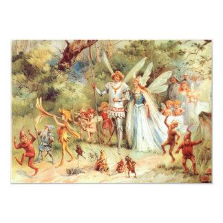 Le mariage de Thumbelina dans la forêt Carton D'invitation 12,7 Cm X 17,78 Cm