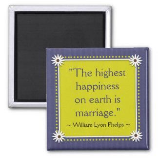 Le mariage heureux cite l'aimant magnet carré
