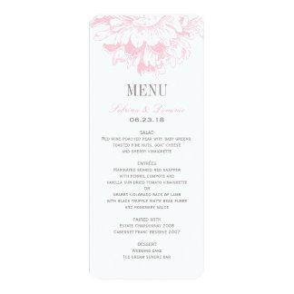 Le menu de dîner de mariage carde la pivoine carton d'invitation  10,16 cm x 23,49 cm