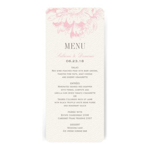 Le menu de dîner de mariage carde la pivoine flora faire-parts
