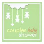 Le mobile vert doux couple l'invitation de baby carton d'invitation  13,33 cm