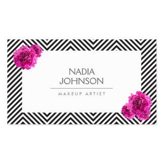 Le motif noir et blanc avec le rose fleurit la carte de visite standard