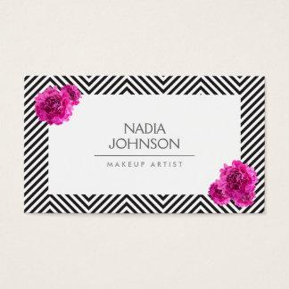 Le motif noir et blanc avec le rose fleurit la cartes de visite