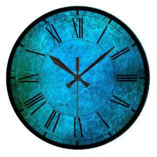 Le paon élégant colore l'horloge murale grande horloge ronde