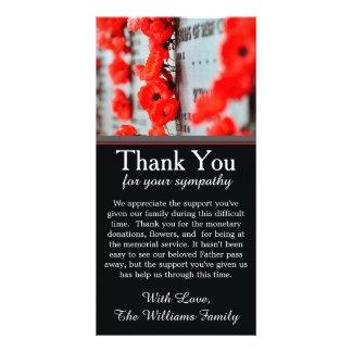 Le pavot fleurit le carte de remerciements de modèle pour photocarte