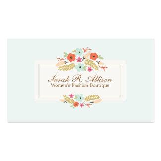 Le pays mignon fleurit la boutique florale vintage carte de visite standard