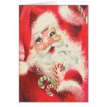 Le père noël vintage avec Noël de sucrerie de sucr Carte De Vœux