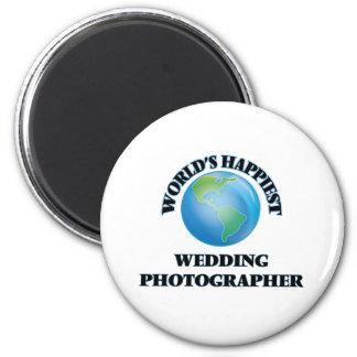 Le photographe du mariage le plus heureux du monde magnet rond 8 cm