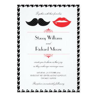 Le pied-de-poule rouge, noir et blanc de moustache carton d'invitation  12,7 cm x 17,78 cm