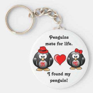 Le pingouin I a trouvé mon compagnon pour le coeur Porte-clé Rond