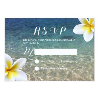 Le Plumeria tropical fleurit le mariage de plage Carton D'invitation 8,89 Cm X 12,70 Cm