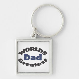 Le plus grand porte - clé du papa du monde porte-clé carré argenté