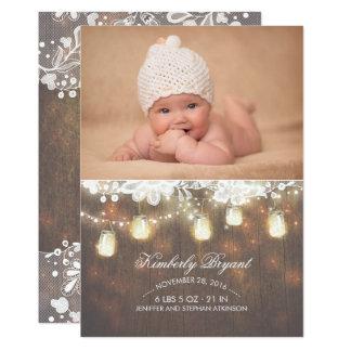 Le pot de maçon allume la naissance nouveau-née carton d'invitation  12,7 cm x 17,78 cm