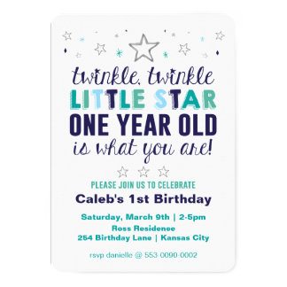 Le premier anniversaire de peu de garçon d'étoile carton d'invitation  12,7 cm x 17,78 cm
