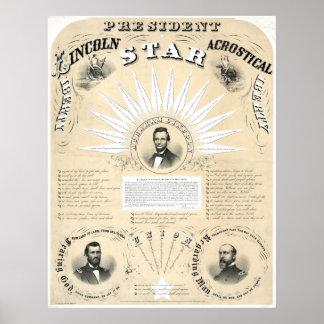 Le Président Lincoln Acrostic Star 1864 Poster
