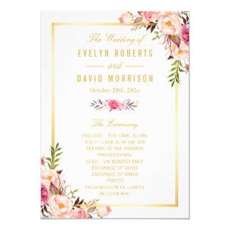 Le programme floral chic élégant de mariage de carton d'invitation  12,7 cm x 17,78 cm