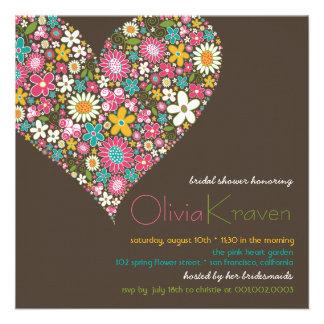 Le ressort coloré fleurit l invitation nuptiale de