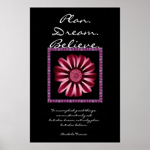 Le rêve de plan croient - la marguerite rouge et r poster