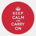 Le rouge de Londres gardent le calme et continuent Autocollants Ronds