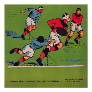 Le Rugby - Vintager Rugby-Druck 1920 Poster