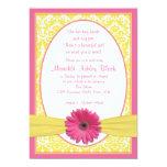 Le Sip jaune rose N de marguerite de Gerbera Invitations Personnalisées
