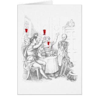 Le squelette ouvre une bouteille de spiritueux carte de vœux