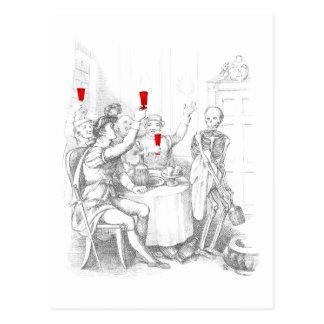 Le squelette ouvre une bouteille de spiritueux carte postale