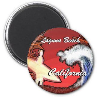 Le surfer de la Californie de Laguna Beach ondule Magnet Rond 8 Cm