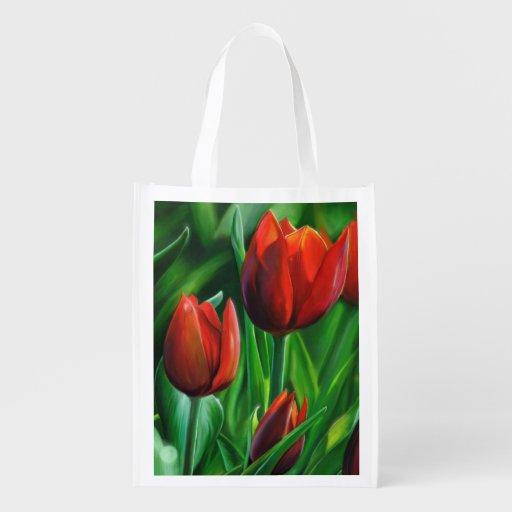 Le trio des tulipes rouges fleurissent la peinture sac réutilisable d'épcierie